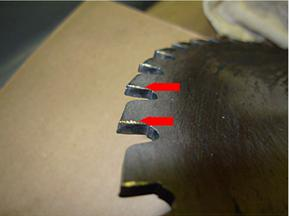 Saw blade tip loss third example