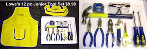 Lowe's 12 pc Junior Tool Set