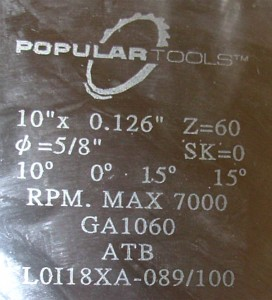 Popular Tools saw blade label