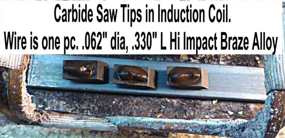 Carbide saw tips in an induction coil being pretinned